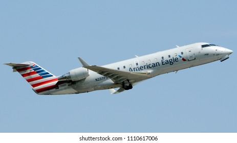 Philadelphia, PA - June 9th, 2018: An American Eagle CRJ-200ER Departing from Philadelphia International Airport