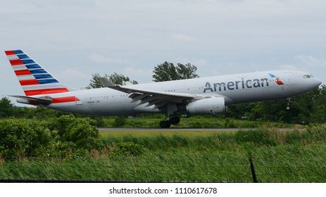 Philadelphia, PA - June 9th, 2018: An American Airlines Airbus A330-243 Landing at Philadelphia International Airport