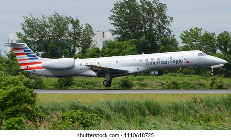 Philadelphia, PA - June 9th, 2018: An American Eagle Embraer ERJ-145 Landing at Philadelphia International Airport