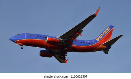 Philadelphia, PA - June 9th, 2018: A Southwest Airlines Boeing 737-7H4