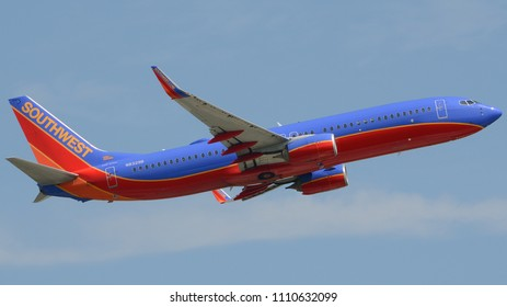 Philadelphia, PA - June 9th, 2018: A Southwest Airlines Boeing 737-8H4 Departing from Philadelphia International Airport