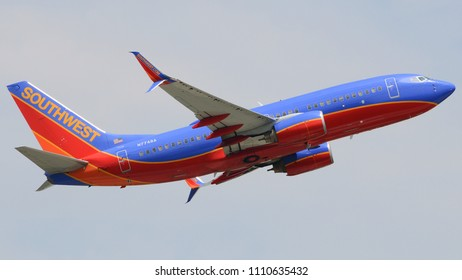 Philadelphia, PA - June 9th, 2018: A Southwest Airlines Boeing 737-7BD Departing Philadelphia International Airport