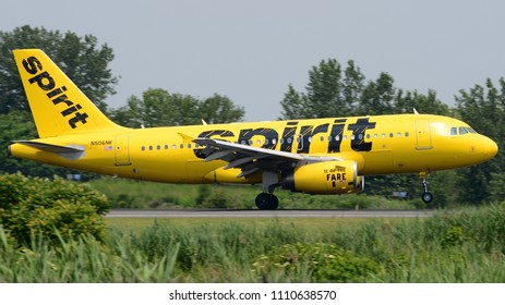 Philadelphia, PA - June 9th, 2018: A Spirit Airlines Airbus A319-132 Landing at Philadelphia International Airport