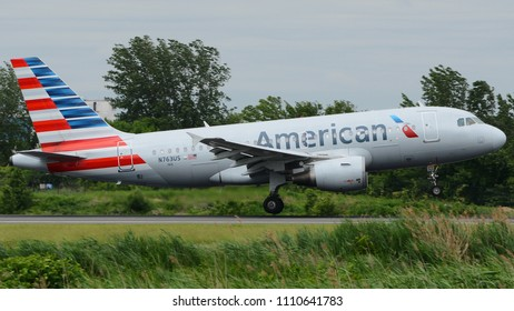 Philadelphia, PA - June 9th, 2018: An American Airlines Airbus A319-112 Landing at Philadelphia International Airport