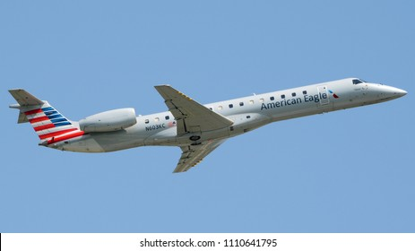 Philadelphia, PA - June 9th, 2018: An American Eagle Embraer ERJ-145LR Departing Philadelphia International Airport