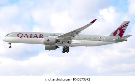 Philadelphia, PA - March 9th, 2018: A Qatar Airlines Airbus A350 landing at Philadelphia International Airport