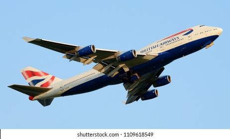 Philadelphia, PA - May 18th, 2018: A British Airways Boeing 747-400 Departing Philadelphia International Airport in the late Evening