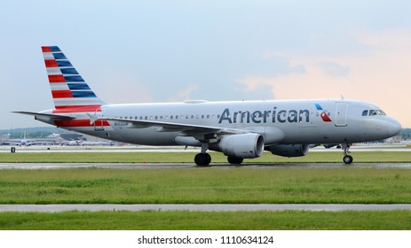 Philadelphia, PA - May 5th, 2018: An American Airlines Airbus A320-214 Taxiing to the Gate at Philadelphia International Airport