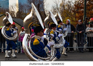 Philadelphia, PA - November 24, 2016: The Anthony Wayne Marching Generals from Whitehouse, Ohio march in the annual Thanksgiving Day parade in the City of Brotherly Love.