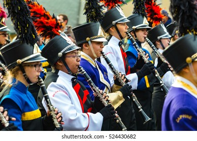 Philadelphia, PA - November 24, 2016: Marching bands perform music throughout the annual Thanksgiving Day parade in the City of Brotherly Love.