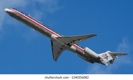 Philadelphia, PA - November 25th, 2018: An American Airlines McDonnell Douglas MD-83, in the Original 1970's American Airlines Livery, Taking Off from Philadelphia International Airport