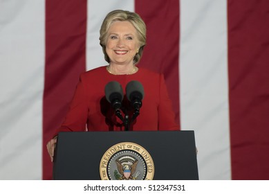 PHILADELPHIA, PA - NOVEMBER 7, 2016: Hillary Clinton smiling. The Democratic Presidential nominee smiles while delivering a speech at a campaign rally on the eve of the US election.