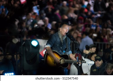 PHILADELPHIA, PA - NOVEMBER 7, 2016: Bruce Springsteen performs at a Hillary Clinton rally to a large crowd of supporters of the Democratic Presidential Nominee.