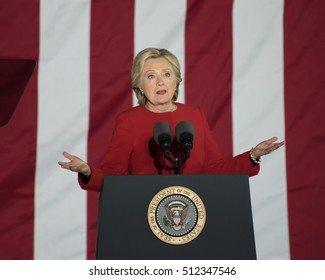 PHILADELPHIA, PA - NOVEMBER 7, 2016: Hillary Clinton indifferent expression. The Democratic Presidential nominee gestures at a rally on the eve of the US election.