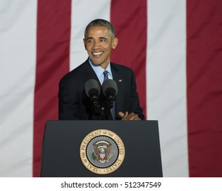 PHILADELPHIA, PA - NOVEMBER 7, 2016: Barack Obama smiles. The President of the United States delivers a speech at a campaign rally for Hillary Clinton the Democratic nominee for President.