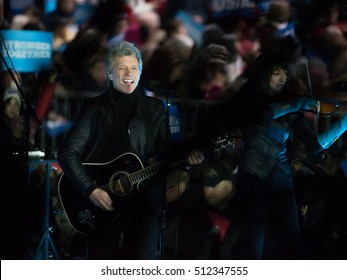 PHILADELPHIA, PA - NOVEMBER 7, 2016: Jon Bon Jovi performs at a Hillary Clinton campaign rally to a large crowd of supporters of the Democratic Presidential Nominee.