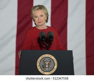 PHILADELPHIA, PA - NOVEMBER 7, 2016: Hillary Clinton smiling. The Democratic Presidential nominee gestures smug smile at a campaign rally on the eve of the US election.