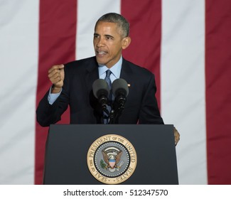 PHILADELPHIA, PA - NOVEMBER 7, 2016: Barack Obama President of the United States delivers a speech at a campaign rally for Hillary Clinton the Democratic nominee for President.