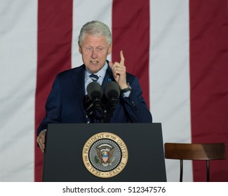 PHILADELPHIA, PA - NOVEMBER 7, 2016:  Bill Clinton former US president gestures finger pointed up as he delivers a speech at a campaign rally for Hillary Clinton the Democratic Presidential nominee.