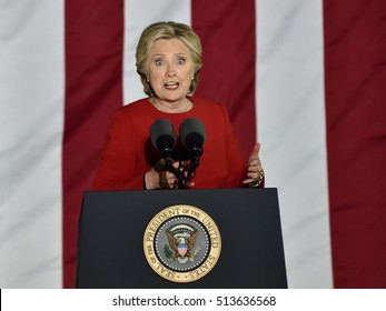 PHILADELPHIA, PA - NOVEMBER 7, 2016: Hillary Clinton with an expression of shock gestures as she delivers a speech at a campaign rally on the eve of the US election.