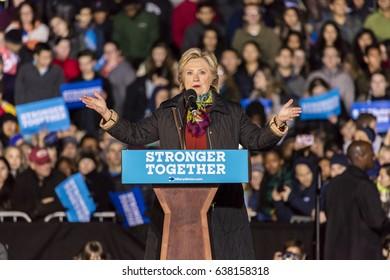 PHILADELPHIA, PA - OCTOBER 22, 2016: Hillary Clinton campaigning for President of the United States at University of Pennsylvania, Philadelphia.