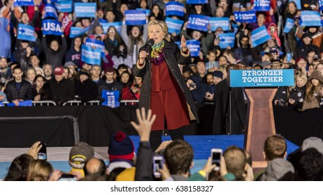 PHILADELPHIA, PA - OCTOBER 22, 2016: Hillary Clinton campaigning for President of the United States at University of Pennsylvania, Philadelphia.