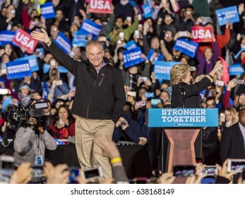 PHILADELPHIA, PA - OCTOBER 22, 2016: Hillary Clinton and Tim Kaine campaign for President and Vice-President of the United States at University of Pennsylvania, Philadelphia.
