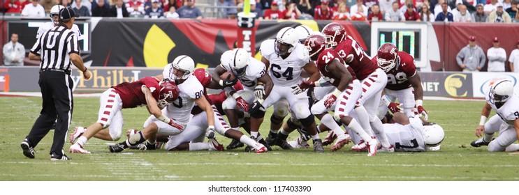 PHILADELPHIA, PA. - SEPTEMBER 17: Penn State running back Silas Redd runs off tackle against Temple on September 17, 2011 at Lincoln Financial Field in Philadelphia, PA.
