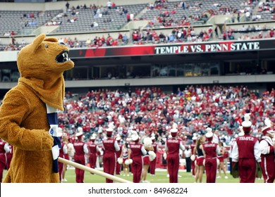 PHILADELPHIA, PA. - SEPTEMBER 17: Penn State mascot the Nittany Lion on the field during a game against Temple on September 17, 2011 at Lincoln Financial Field in Philadelphia, PA.