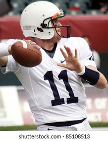 PHILADELPHIA, PA. - SEPTEMBER 17: Penn State Quarterback back Matthew McGloin warms up prior to  a game on September 17, 2011 at Lincoln Financial Field in Philadelphia, PA.