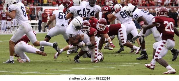 PHILADELPHIA, PA. - SEPTEMBER 17: Penn State runningback Brandon Beachum runs off tackle during a game against Temple on September 17, 2011 at Lincoln Financial Field in Philadelphia, PA.