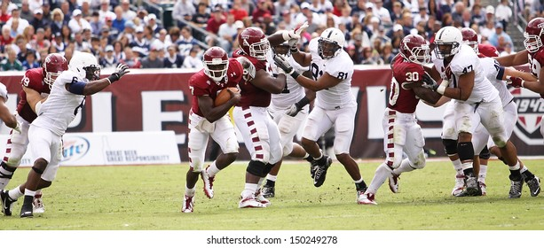 PHILADELPHIA, PA. - SEPTEMBER 17:  Temple's Chester Stewart breaks through the line against Penn State on September 17, 2011 at Lincoln Financial Field in Philadelphia, PA.