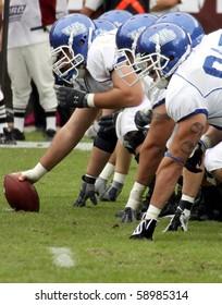 PHILADELPHIA, PA. - SEPTEMBER 26 :  Buffalo offensive linemen get ready to hike the football against the Temple Owls September 26, 2009 in Philadelphia, PA.