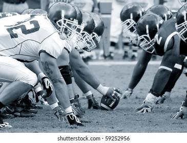 PHILADELPHIA, PA. - SEPTEMBER 26 : Temple Defensive Line face off against Buffalo offensive linemen September 26, 2009 in Philadelphia, PA.