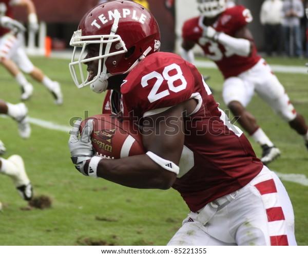 PHILADELPHIA, PA. - SEPTEMBER 26 : Temple defensive back Marquise Liverpoole returns an interception against Buffalo on September 26, 2009 in Philadelphia, PA.