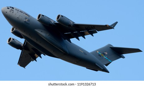 Philadelphia, PA - September 29th, 2018: A United States Air Force C-17A Departing Philadelphia International Airport After Offloading Cargo