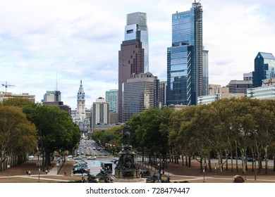 Philadelphia, PA - September 30, 2017: A view of downtown Philadelphia from the Rocky Steps at the Philadelphia Museum of Art.