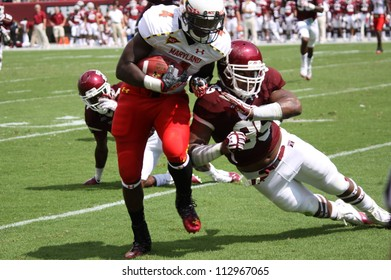 PHILADELPHIA, PA. - SEPTEMBER 8: Maryland running back #44 Justus Pickett looks for a hole against Temple on September 8, 2012 at Lincoln Financial Field in Philadelphia, PA. .