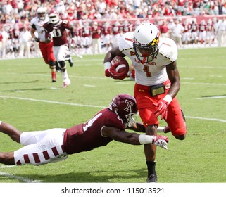 PHILADELPHIA, PA. - SEPTEMBER 8: Maryland receiver #1 Stefon Diggs makes a catch against Temple on September 8, 2012 at Lincoln Financial Field in Philadelphia, PA.