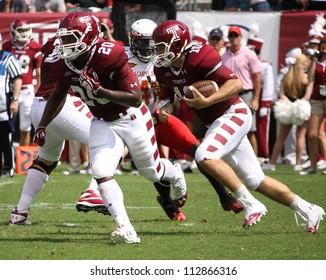 PHILADELPHIA, PA. - SEPTEMBER 8: Temple quarterback Chris Coyer looks for running room on September 8, 2012 at Lincoln Financial Field in Philadelphia, PA.