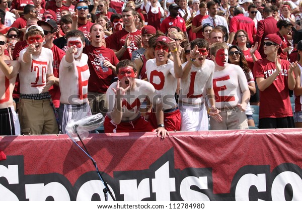 PHILADELPHIA, PA. - SEPTEMBER 8: Temple fans celebrate a good play during a game against Maryland September 8, 2012 at Lincoln Financial Field in Philadelphia, PA.