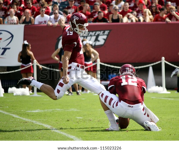 PHILADELPHIA, PA. - SEPTEMBER 8: Temple kicker Brandon McManus kicks an extra point against Maryland on September 8, 2012 at Lincoln Financial Field in Philadelphia, PA.