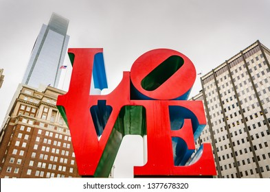 Philadelphia, PA / USA - 04/06/2015: Love Park, officially known as John F. Kennedy Plaza, is nicknamed Love Park for its reproduction of Robert Indiana's Love sculpture which overlooks the plaza.