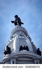 Philadelphia, PA, USA - August 13, 2011: William Penn statue stands on top of the Philadelphia City Hall building.