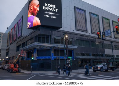 Philadelphia, Pa. USA, Jan. 28, 2020: announcement of Kobe Bryant death on a billboard at a street in Philadelphia. Jan. 28, 2020 in Philadelphia, Pa. USA