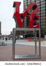 PHILADELPHIA, PA, USA - JAN 2nd, 2019: The popular Love Park named after the Love statue in Philadelphia. It was first placed in the plaza in 1976