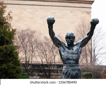 PHILADELPHIA, PA, USA - JAN 2nd, 2019: The Rocky Statue in Philadelphia, USA. Originally created for the movie Rocky III, the sculpture is now a real-life monument to a celluloid. Rocky Balboa statue.