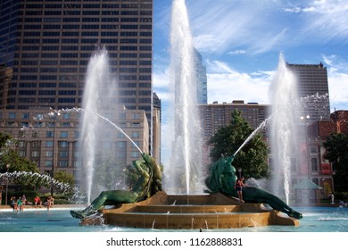 Philadelphia, PA USA - July 20, 2018: A typical summer scene at the Swann Memorial Fountain at Logan's Circle in Philadelphia.