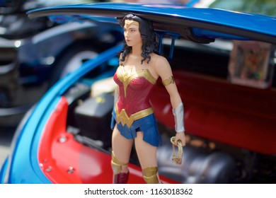 Philadelphia, PA, USA - July 29, 2018: Detail of a customized hood ornament on display at a vintage auto show in Philadelphia's East Passyunk neighborhood.