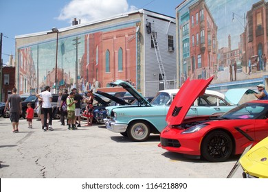 Philadelphia, PA, USA - July 29, 2018: Scene from a vintage auto show in Philadelphia's East Passyunk neighborhood.